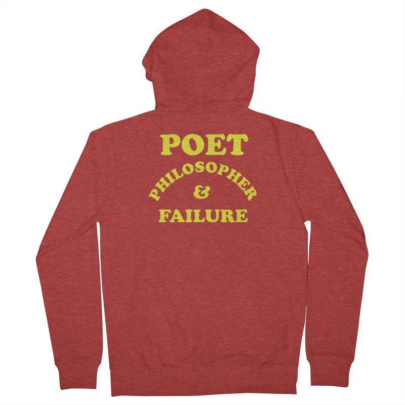 POET PHILOSOPHER & FAILURE (yllw) Men's French Terry Zip-Up Hoody by VOID MERCH