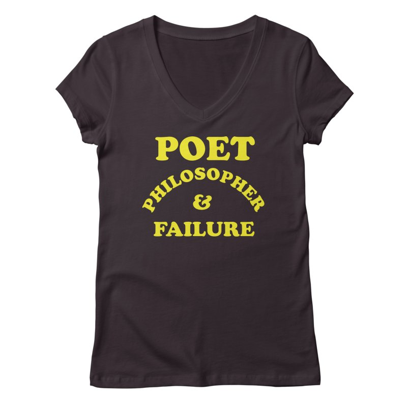 POET PHILOSOPHER & FAILURE (yllw) Women's Regular V-Neck by VOID MERCH