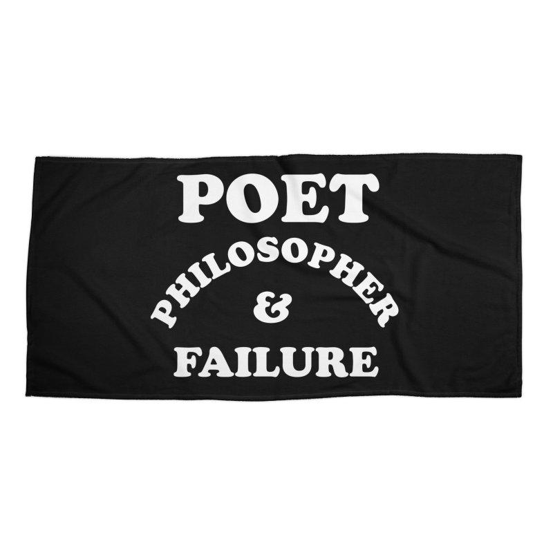 POET PHILOSOPHER & FAILURE (wht) Accessories Beach Towel by VOID MERCH