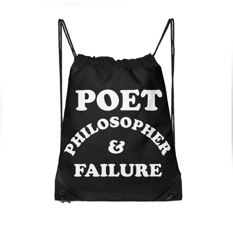 POET PHILOSOPHER & FAILURE (wht) Accessories Drawstring Bag Bag by VOID MERCH