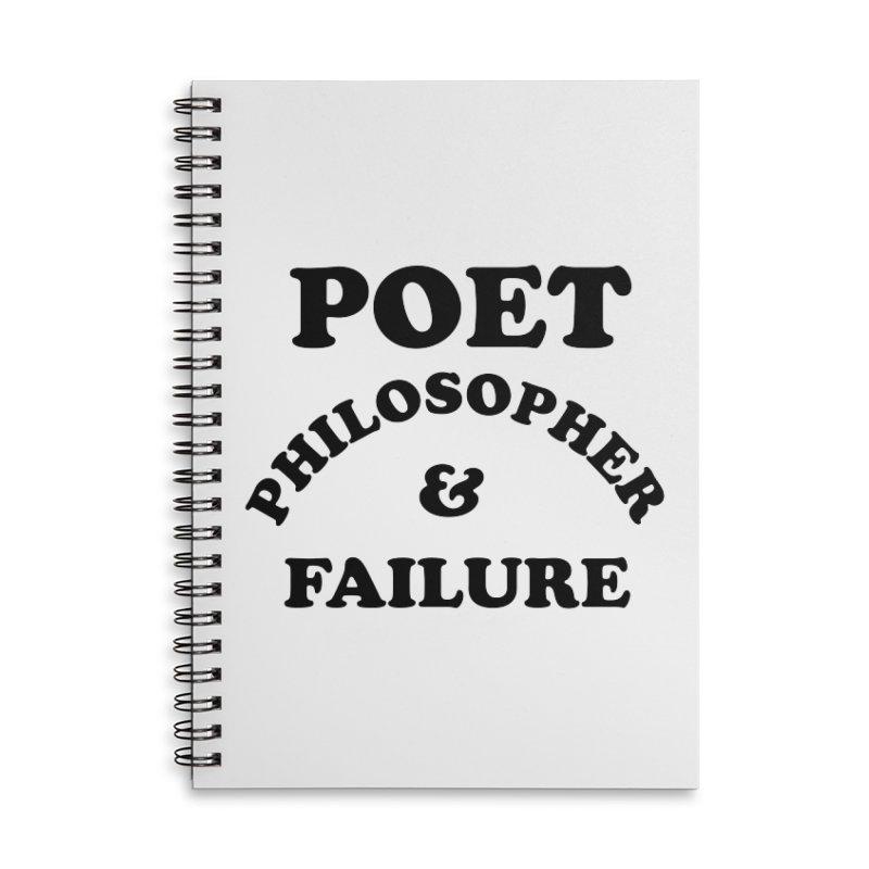 POET PHILOSOPHER & FAILURE (blk) Accessories Lined Spiral Notebook by VOID MERCH