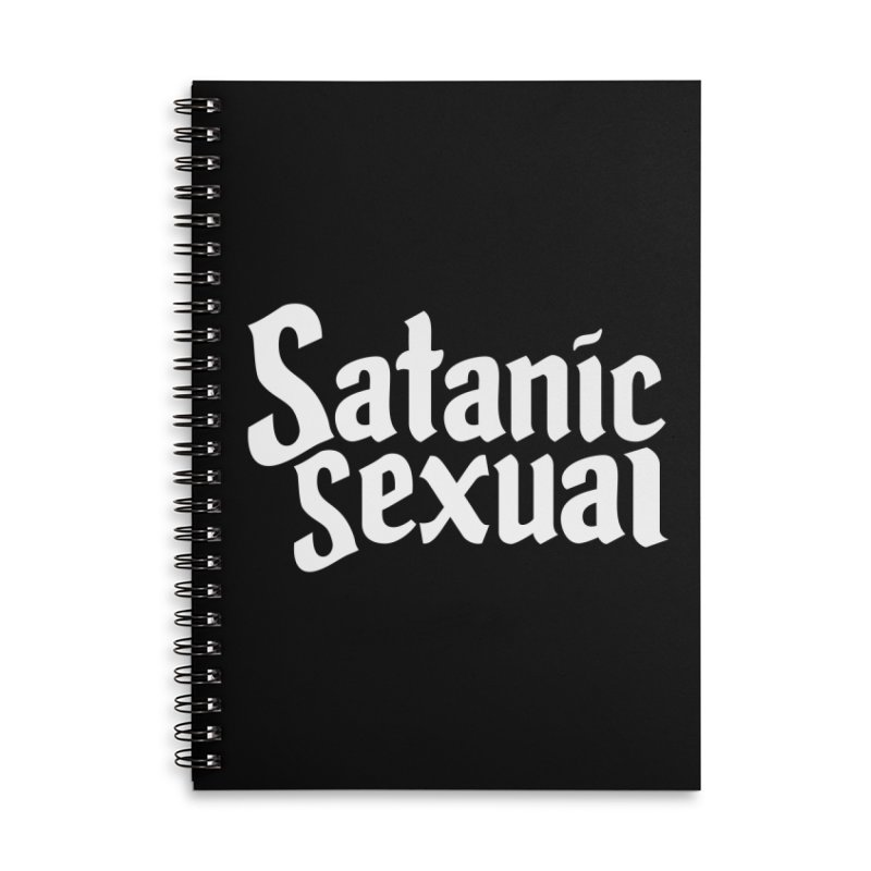 SATANIC SEXUAL (wht) Accessories Lined Spiral Notebook by VOID MERCH