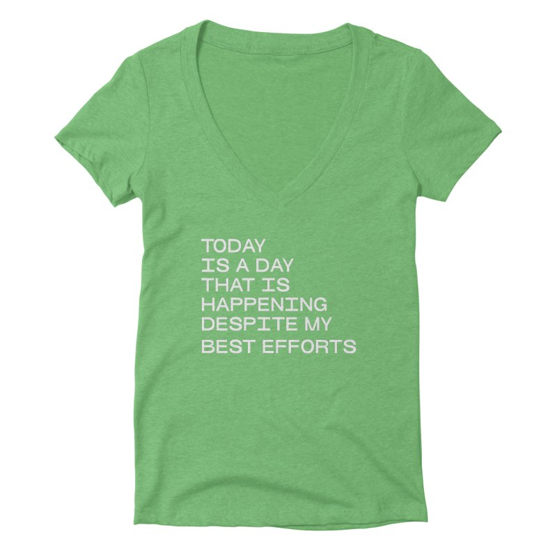 TODAY IS A DAY (wht) Women's Deep V-Neck V-Neck by VOID MERCH