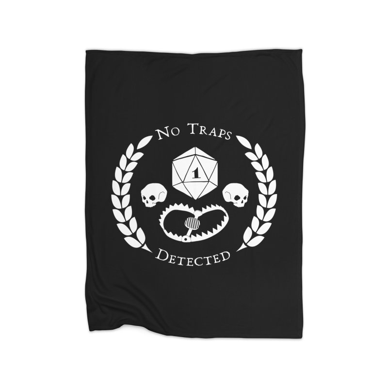 NO TRAPS DETECTED (wht) Home Fleece Blanket Blanket by VOID MERCH