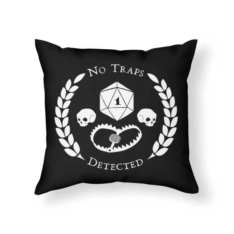 NO TRAPS DETECTED (wht) Home Throw Pillow by VOID MERCH