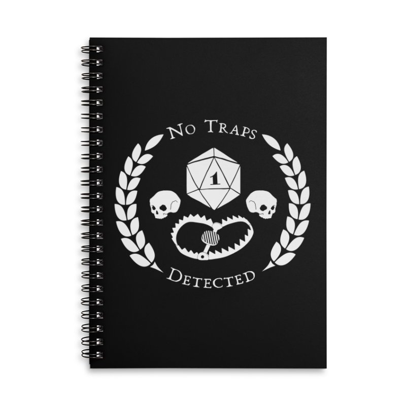NO TRAPS DETECTED (wht) Accessories Lined Spiral Notebook by VOID MERCH