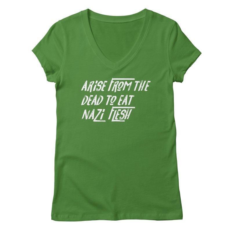 EAT NAZI FLESH Women's Regular V-Neck by VOID MERCH