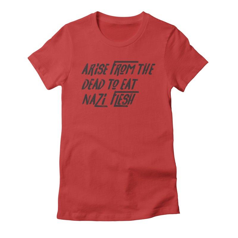 EAT NAZI FLESH Women's Fitted T-Shirt by VOID MERCH
