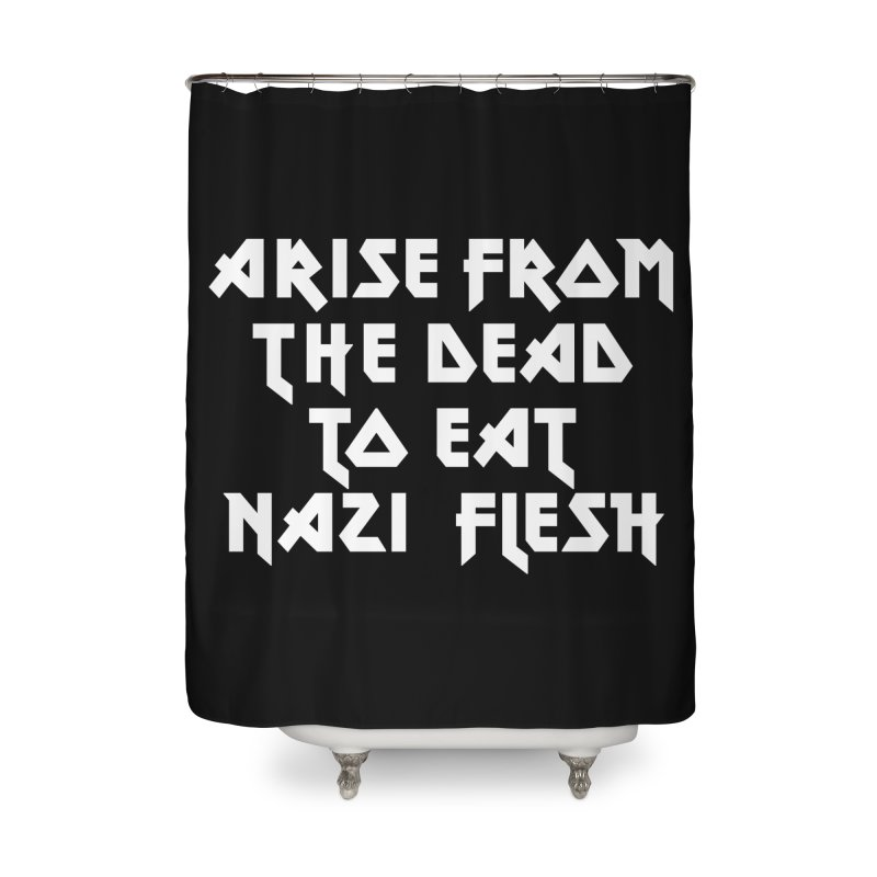 EAT NAZI FLESH (METAL) Lavin x Voidmerch Home Shower Curtain by VOID MERCH