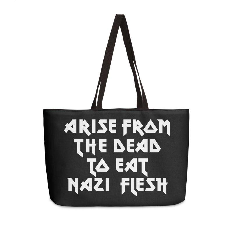 EAT NAZI FLESH (METAL) Lavin x Voidmerch Accessories Weekender Bag Bag by VOID MERCH