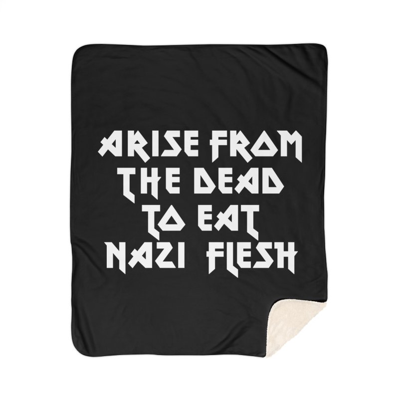 EAT NAZI FLESH (METAL) Lavin x Voidmerch Home Sherpa Blanket Blanket by VOID MERCH