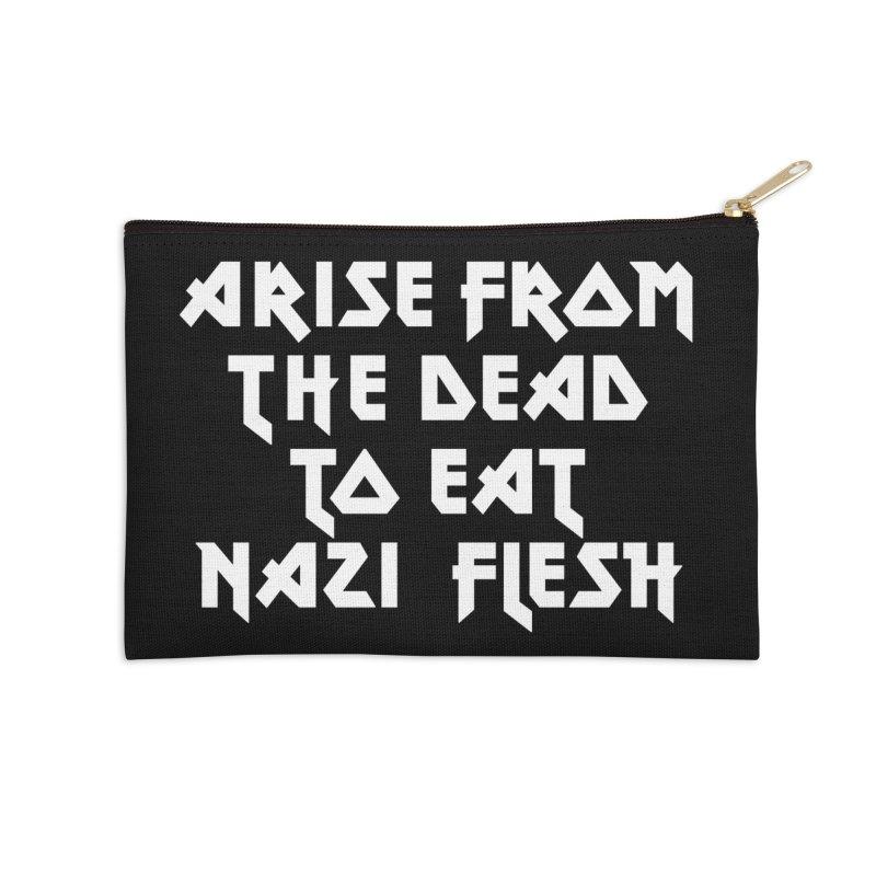 EAT NAZI FLESH (METAL) Lavin x Voidmerch Accessories Zip Pouch by VOID MERCH