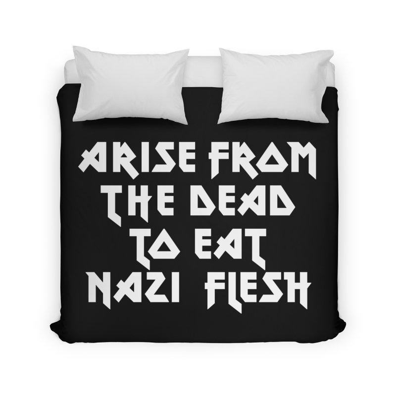 EAT NAZI FLESH (METAL) Lavin x Voidmerch Home Duvet by VOID MERCH