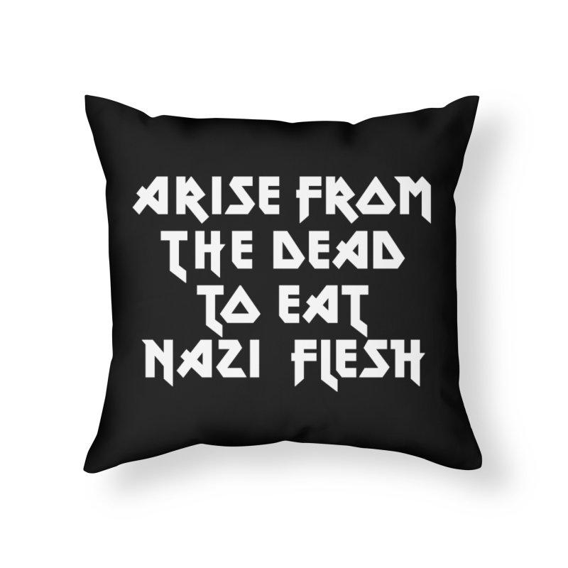 EAT NAZI FLESH (METAL) Lavin x Voidmerch Home Throw Pillow by VOID MERCH