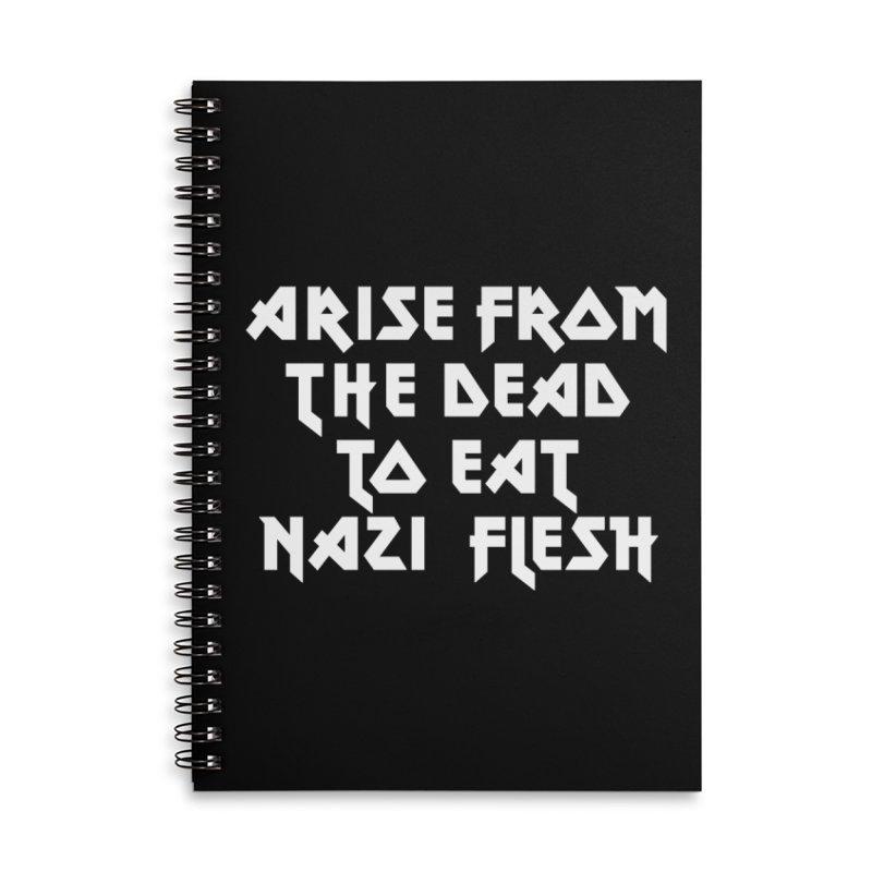 EAT NAZI FLESH (METAL) Lavin x Voidmerch Accessories Lined Spiral Notebook by VOID MERCH