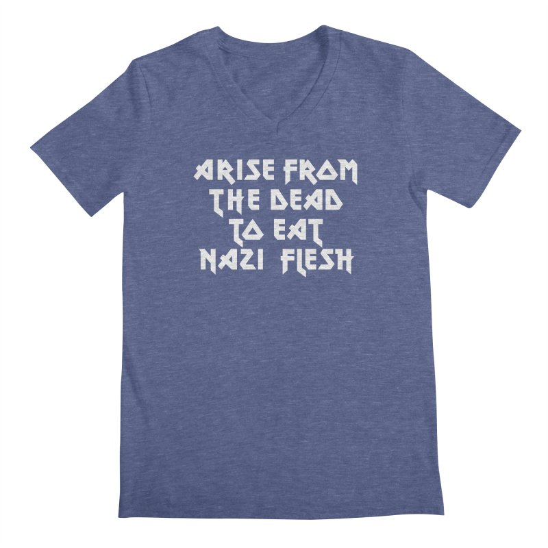 EAT NAZI FLESH (METAL) Lavin x Voidmerch Men's Regular V-Neck by VOID MERCH