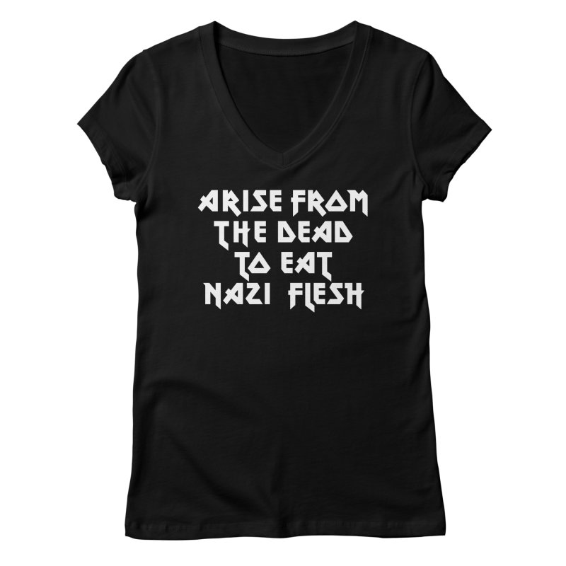 EAT NAZI FLESH (METAL) Lavin x Voidmerch Women's V-Neck by VOID MERCH