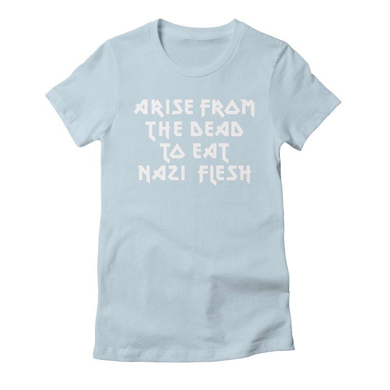EAT NAZI FLESH (METAL) Lavin x Voidmerch Women's Fitted T-Shirt by VOID MERCH