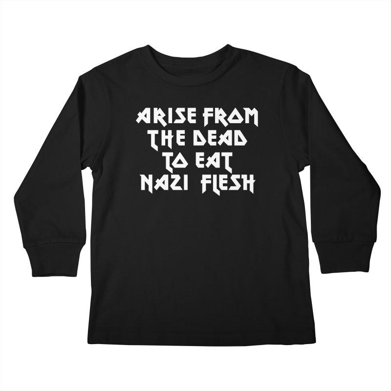 EAT NAZI FLESH (METAL) Lavin x Voidmerch Kids Longsleeve T-Shirt by VOID MERCH