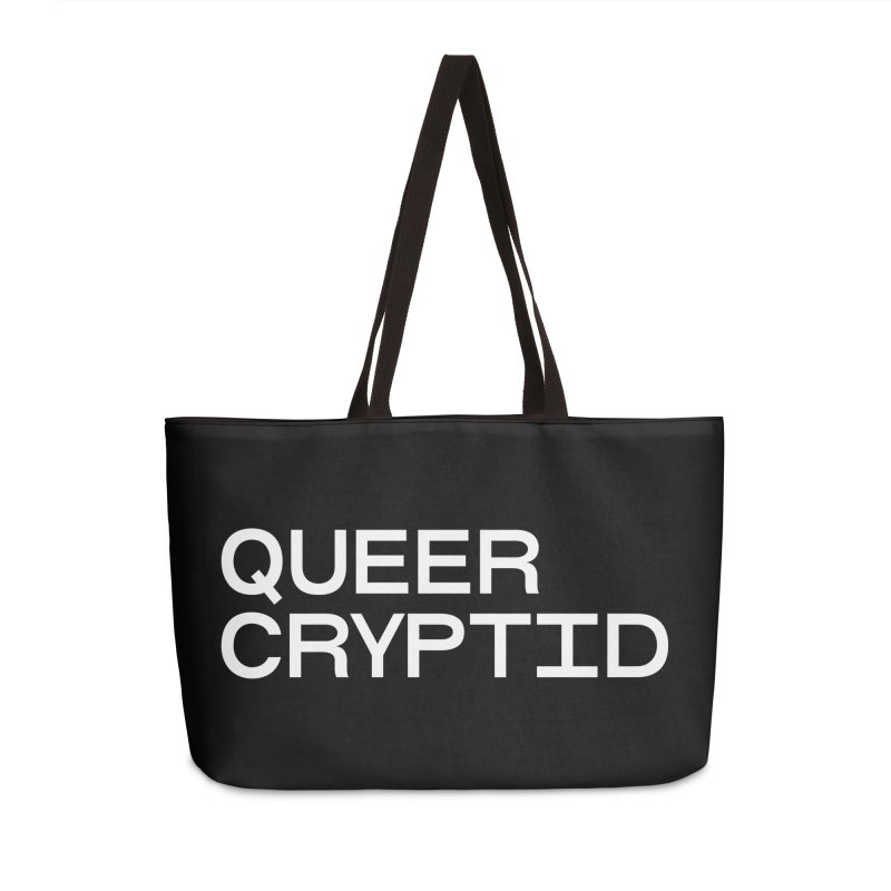 Queer Cryptid (sans) wht Accessories Weekender Bag Bag by VOID MERCH