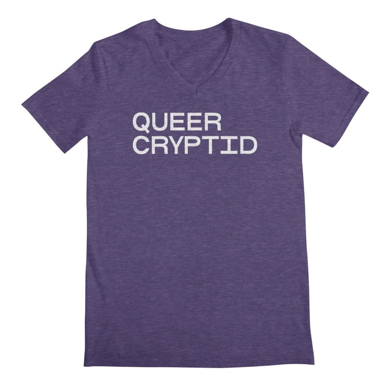 Queer Cryptid (sans) wht Men's Regular V-Neck by VOID MERCH
