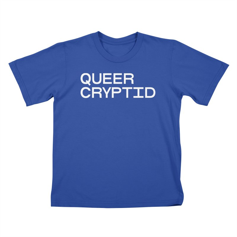 Queer Cryptid (sans) wht Kids T-Shirt by VOID MERCH
