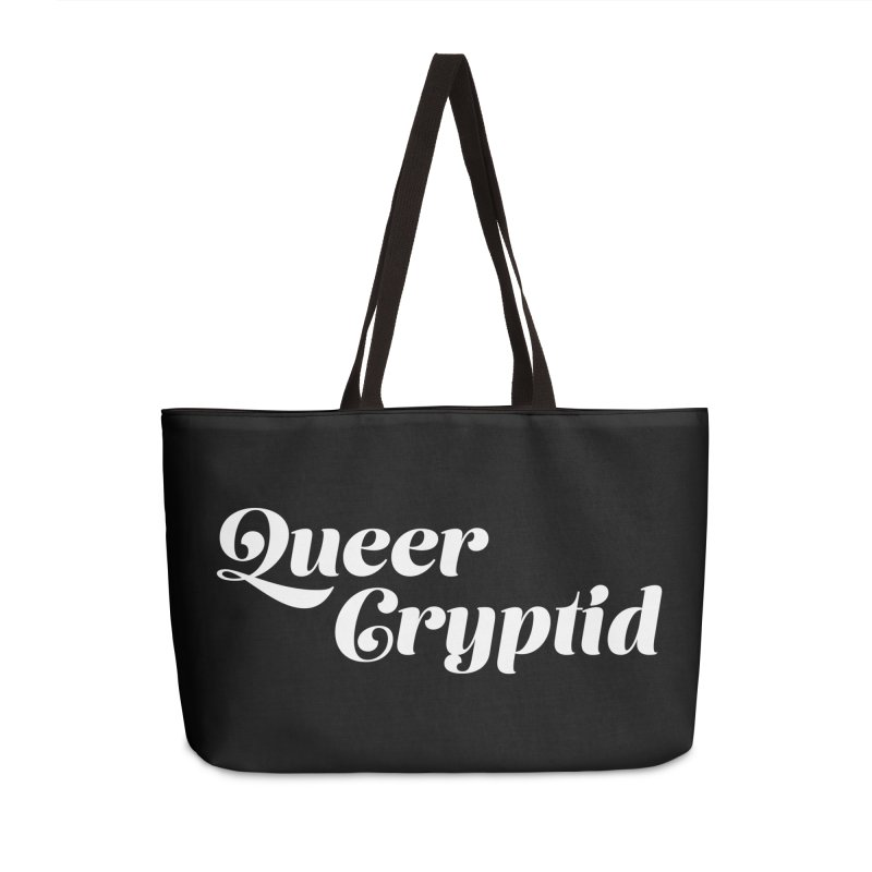 Queer Cryptid (script) wht Accessories Weekender Bag Bag by VOID MERCH