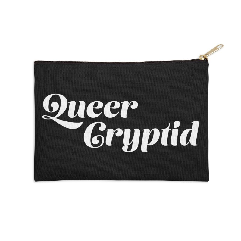 Queer Cryptid (script) wht Accessories Zip Pouch by VOID MERCH