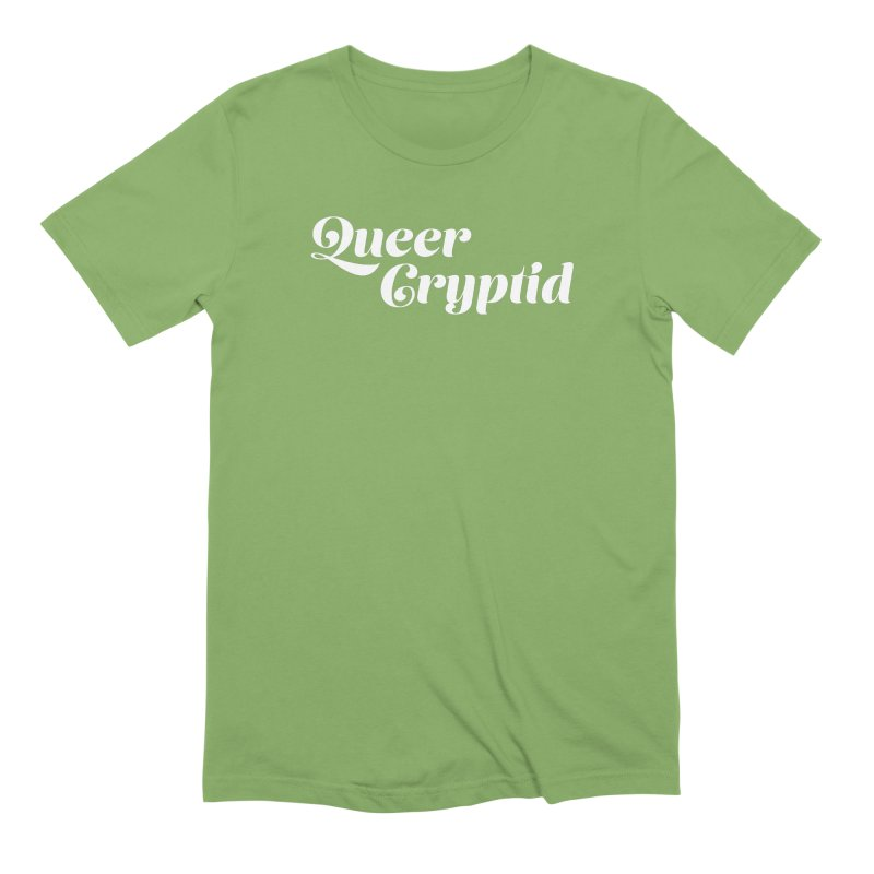 Queer Cryptid (script) wht Men's Extra Soft T-Shirt by VOID MERCH
