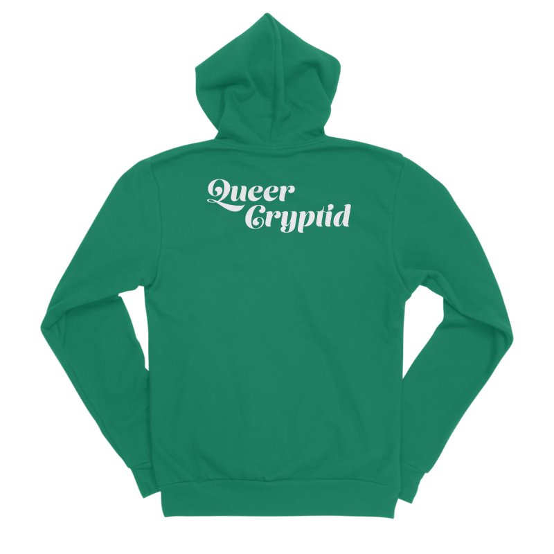 Queer Cryptid (script) wht Men's Sponge Fleece Zip-Up Hoody by VOID MERCH