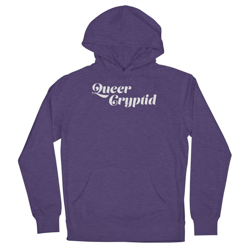 Queer Cryptid (script) wht Women's French Terry Pullover Hoody by VOID MERCH