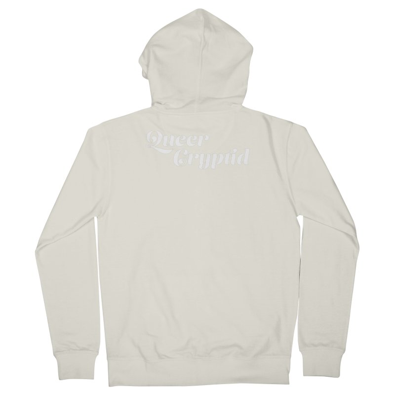 Queer Cryptid (script) wht Men's French Terry Zip-Up Hoody by VOID MERCH