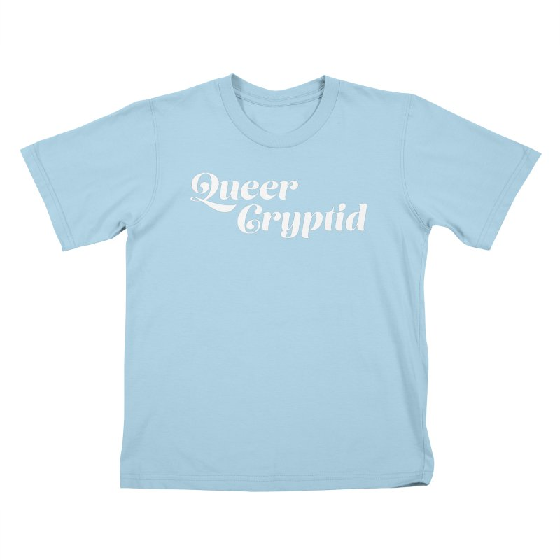 Queer Cryptid (script) wht Kids T-Shirt by VOID MERCH