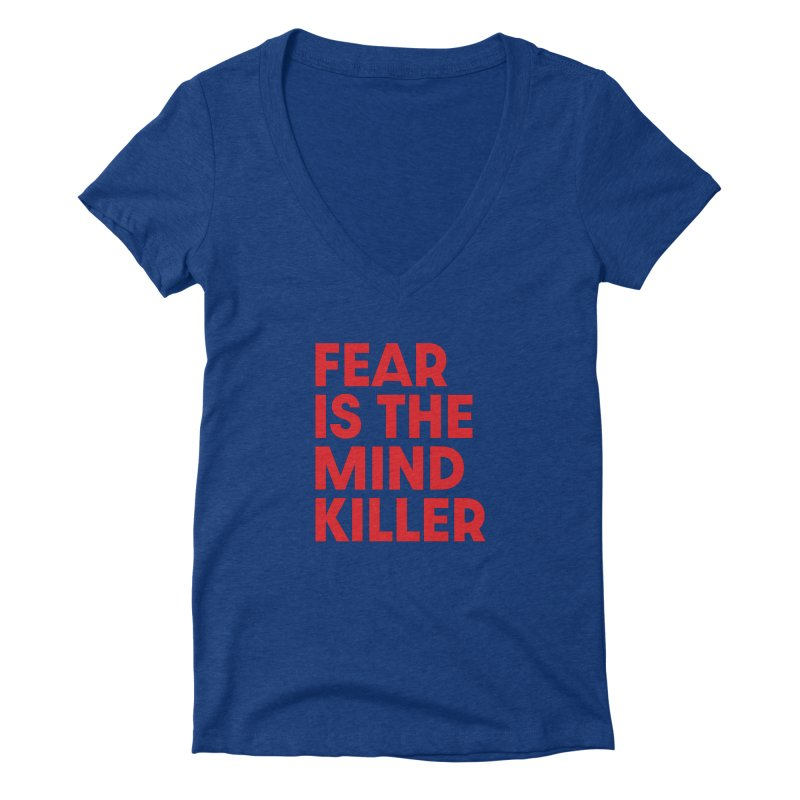 FEAR IS THE MIND KILLER (rd) Women's Deep V-Neck V-Neck by VOID MERCH