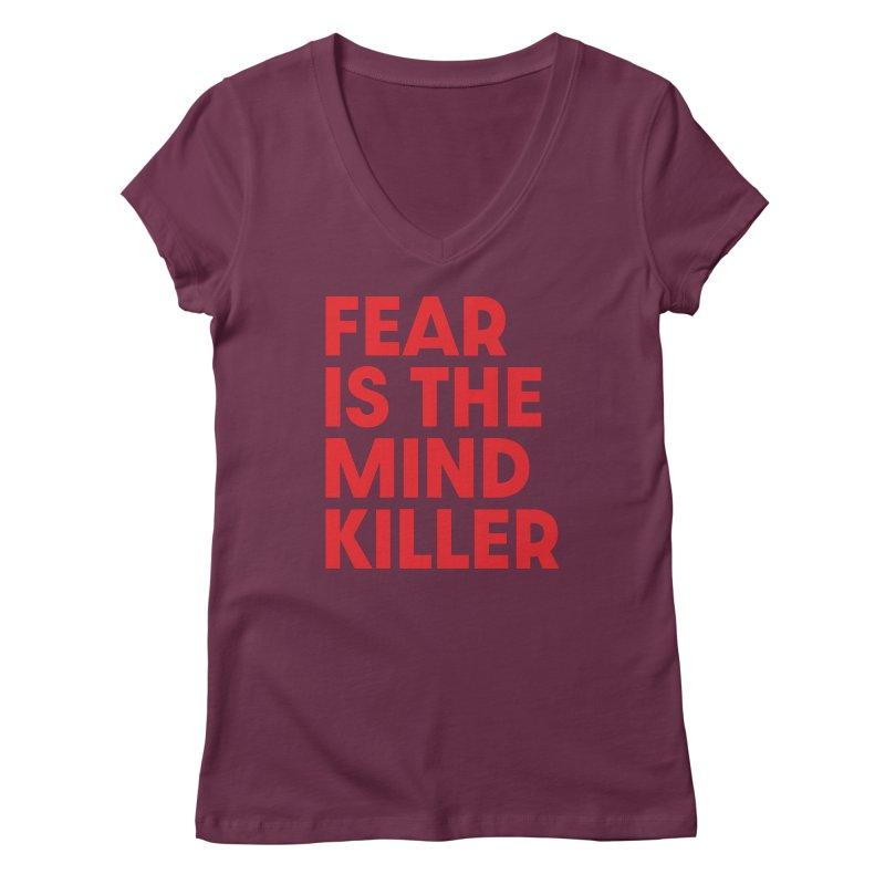 FEAR IS THE MIND KILLER (rd) Women's Regular V-Neck by VOID MERCH