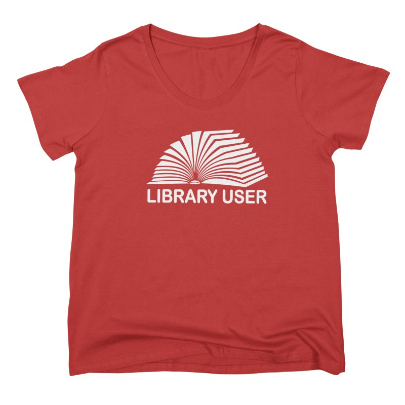 LIBRARY USER, wht (Reading Glasses Podcast x Voidmerch) Femme Scoop Neck by VOID MERCH