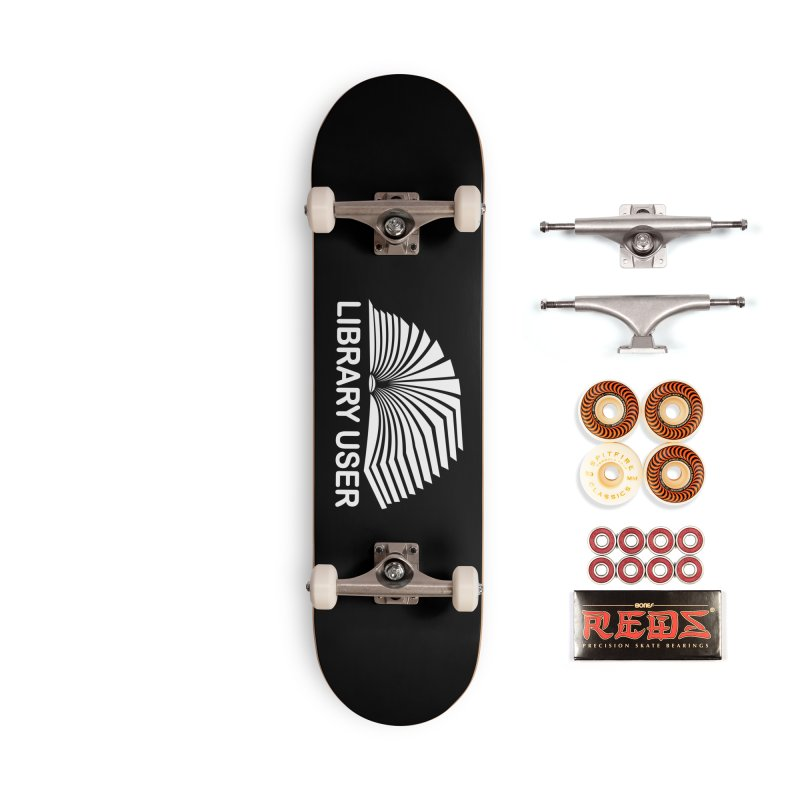 LIBRARY USER, wht (Reading Glasses Podcast x Voidmerch) Accessories Skateboard by VOID MERCH