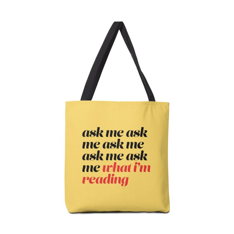 ASK ME WHAT I'M READING, script blk (Reading Glasses Podcast x Voidmerch) Accessories Bag by VOID MERCH