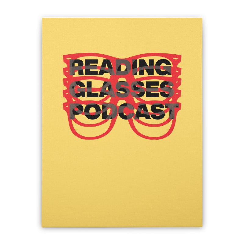 READING GLASSES PODCAST logo shirt 2 Home Stretched Canvas by VOID MERCH