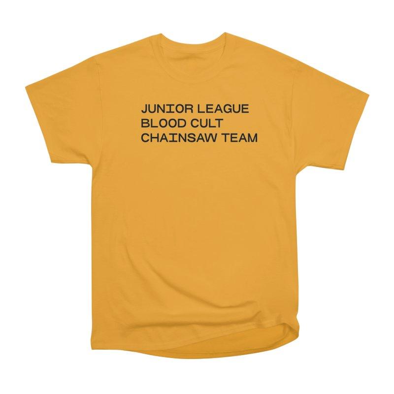 JUNIOR LEAGUE BLOOD CULT CHAINSAW TEAM (BLACK) in Men's Heavyweight T-Shirt Gold by VOID MERCH