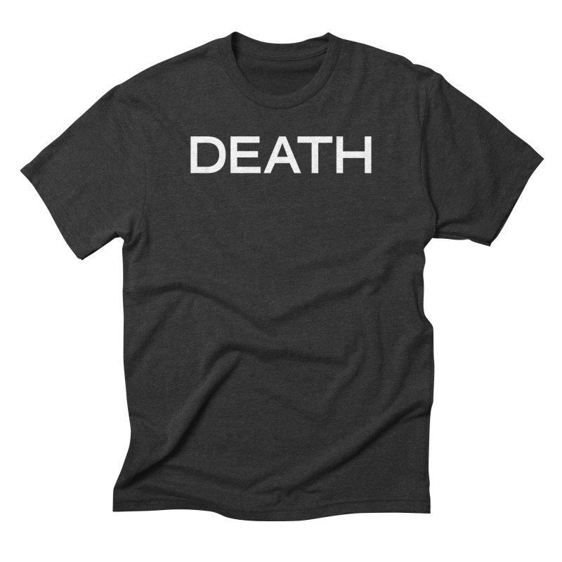 DEATH (WHT) in Men's Triblend T-Shirt Heather Onyx by VOID MERCH
