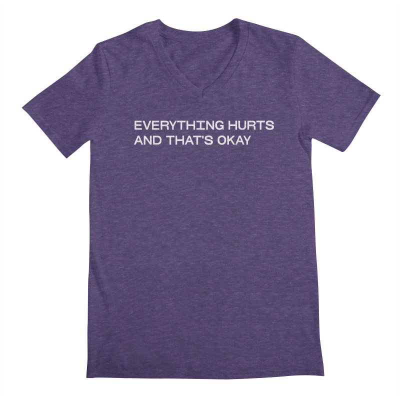 EVERYTHING HURTS AND THAT'S OKAY (WHT) in Men's Regular V-Neck Heather Purple by VOID MERCH