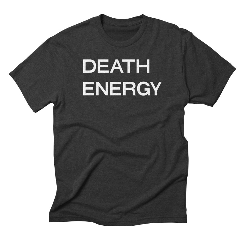 DEATH ENERGY (WHT) in Men's Triblend T-Shirt Heather Onyx by THE ABYSS' CURIO SHOP