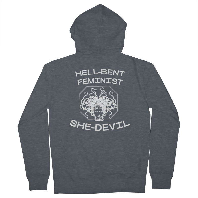 HELL-BENT FEMINIST SHE-DEVIL SHIRT (BLK) Women's Zip-Up Hoody by VOID MERCH