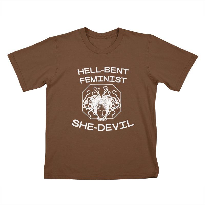 HELL-BENT FEMINIST SHE-DEVIL SHIRT (BLK) Kids T-Shirt by VOID MERCH