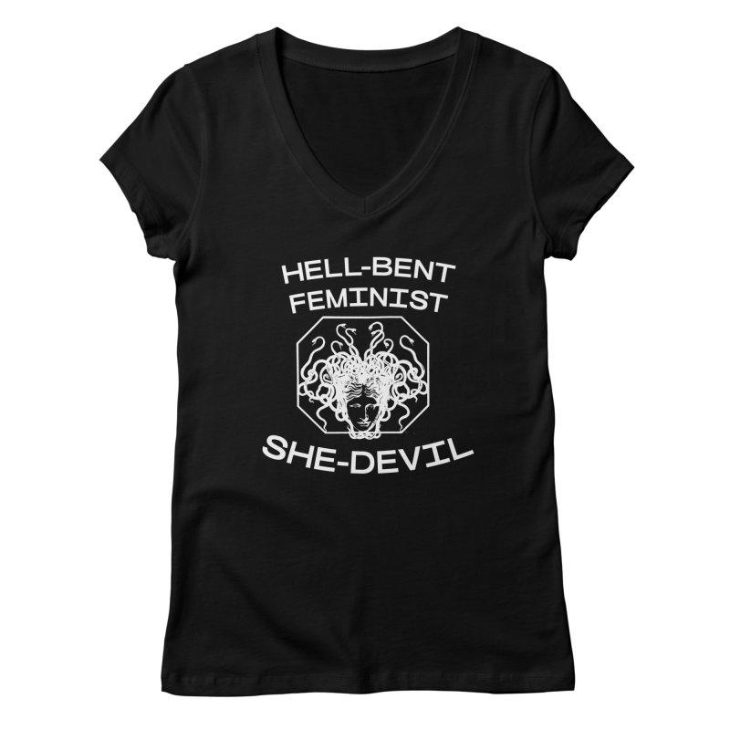 HELL-BENT FEMINIST SHE-DEVIL SHIRT (BLK) Women's V-Neck by VOID MERCH