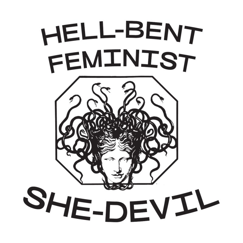 HELL-BENT FEMINIST SHE-DEVIL SHIRT (BLK) Women's V-Neck by VOID MERCH