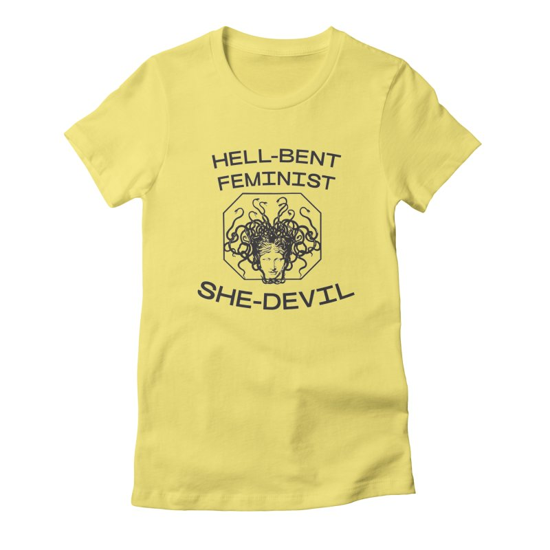 HELL-BENT FEMINIST SHE-DEVIL SHIRT (BLK) in Women's Fitted T-Shirt Light Yellow by VOID MERCH