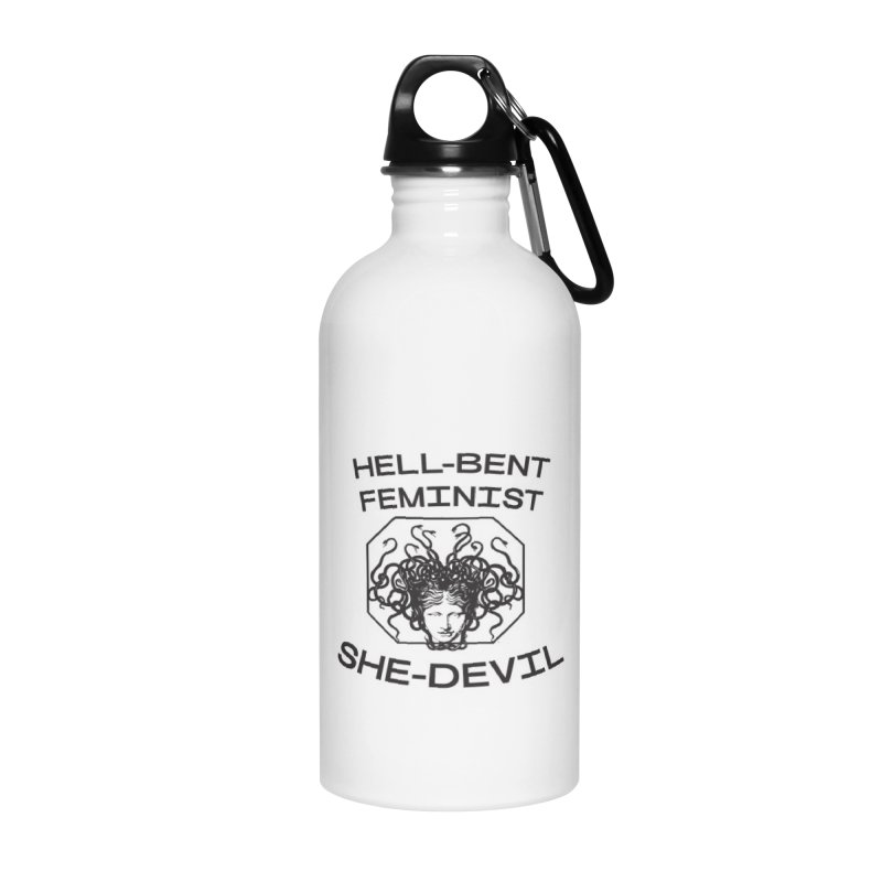 HELL-BENT FEMINIST SHE-DEVIL SHIRT (BLK) Accessories Water Bottle by VOID MERCH