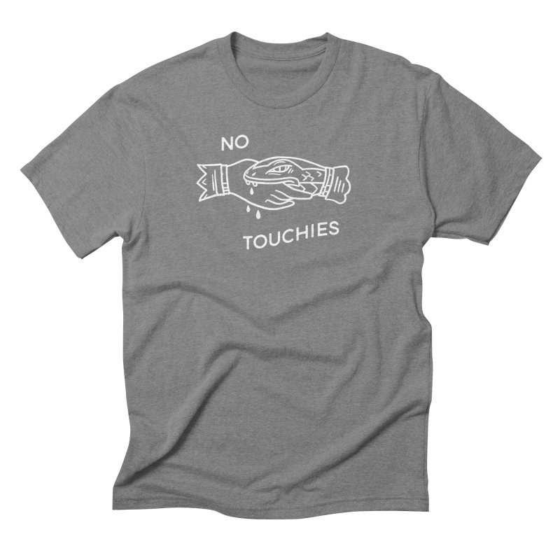 NO TOUCHIES (SNAKE WHT) in Men's Triblend T-Shirt Grey Triblend by THE ABYSS' CURIO SHOP